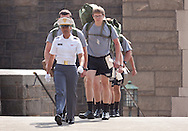 West Point, New York - New Cadets march away from Thayer Hall at the United States Military Academy at West Point during  Reception Day on July 2, 2014. About 1,200 cadet candidates, the West Point Class of 2018, reported to the academy to begin their military careers by getting lessons in marching, military courtesy and discipline.