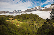 Lake, meadow, and mountains, Routeburn Track, South Island, New Zealand