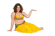 Belly dancer offers her hand On white Background