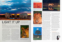 "September 2015 ""On the Road"" photography column by Blaine Harrington III in Shutterbug Magazine titled ""Light it Up""."