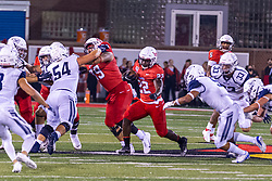 NORMAL, IL - September 04: Trey Georgie  gets a key block on Austin Korba to give Pha'leak Brown some room to run during a college football game between the Bulldogs of Butler University and the ISU (Illinois State University) Redbirds on September 04 2021 at Hancock Stadium in Normal, IL. (Photo by Alan Look)