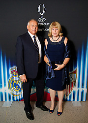 CARDIFF, WALES - Monday, August 11, 2014: Frank and Debbie Bale, parents of Real Madrid and Wales' Gareth Bale, at a gala dinner held at the Millennium Centre ahead of the UEFA Super Cup in Cardiff. (Pic by David Rawcliffe/Propaganda)