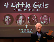 August 15, 2013 -Birmingham, AL:  Rev. Oliver Clark greets people at the Canterbury United Methodist Church in Birmingham, AL.  The church was showing Spike Lee's documentary 4 Little Girls. This is the 50th Anniversary of the bombing that killed the girls at the 16th Street Baptist Church.
