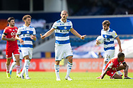Queens Park Rangers defender Dominic Ball (12) protests during the EFL Sky Bet Championship match between Queens Park Rangers and Barnsley at the Kiyan Prince Foundation Stadium, London, England on 20 June 2020.
