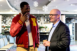 Daniel Edozie of Bristol Flyers chats with Adrian Webster who is the guest speaker as Bristol Sport hosts their monthly networking breakfast event at Ashton Gate Stadium - Mandatory by-line: Robbie Stephenson/JMP - 16/12/2016 - SPORT - Ashton Gate Stadium - Bristol, England - Big Sports Breakfast December