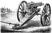 Gatling rapid fire gun (1861-62): Various models. From 'The Science Record' New York, 1762. Engraving