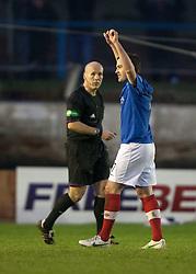 Cowdenbeath's Jamie Stevenson (7) cele scoring their fourth goal from a free kick past Falkirk's keeper Michael McGovern..Cowdenbeath 4 v 1 Falkirk, 9/2/2013..©Michael Schofield.