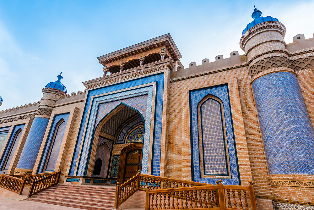 The beautiifully restored palace in Yarkand, on the Southern Silk Road (it was an important caravan town), at the southern edge of the Taklamakan Desert. Xinjiang Province, China.