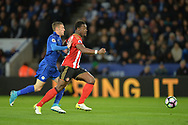 Jamie Vardy of Leicester city chases down Lamine Kone of Sunderland.  Premier league match, Leicester City v Sunderland at the King Power Stadium in Leicester, Leicestershire on Tuesday 4th April 2017.<br /> pic by Bradley Collyer, Andrew Orchard sports photography.