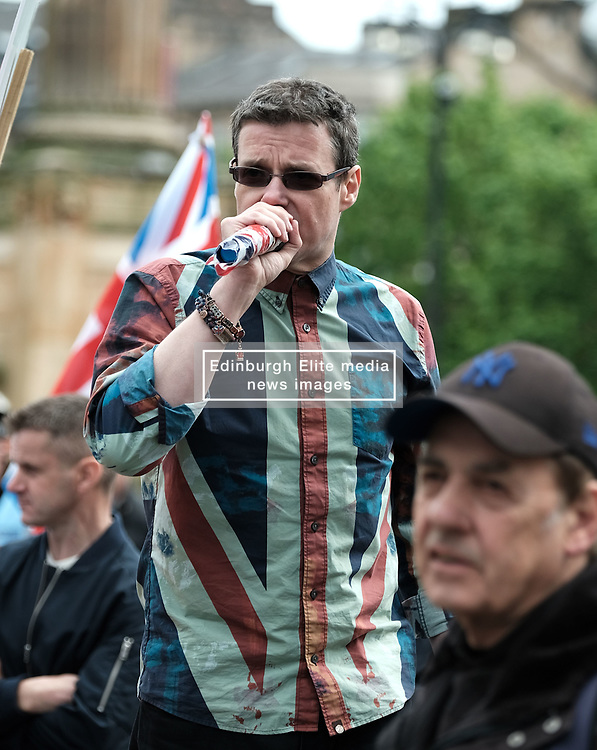 All Under One Banner Independence March, Glasgow, Saturday 4th May 2019<br /> <br /> Pictured: A counter demonstration was organised by Holocaust Denyer Alistair McConnachie (with microphone)<br /> <br /> Alex Todd | Edinburgh Elite media