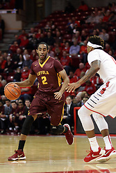 06 January 2016: Earl Peterson(2) defended by Nick Banyard(0) at the top of the key during the Illinois State Redbirds v Loyola-Chicago Ramblers at Redbird Arena in Normal Illinois (Photo by Alan Look)