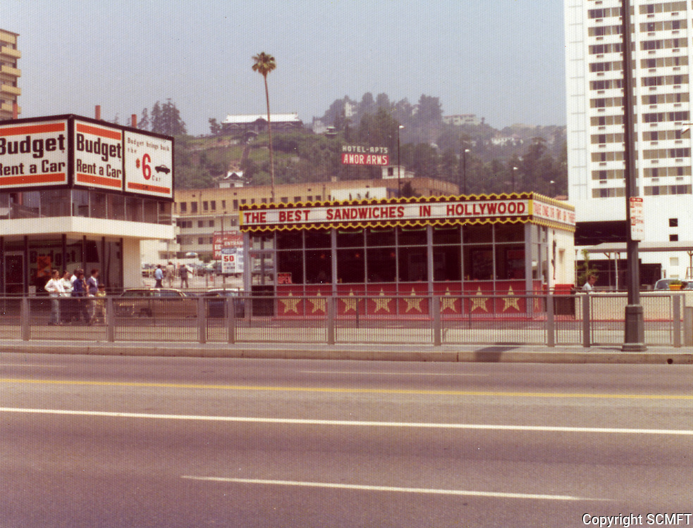 1975 Take One, Two & Three sandwich shop on Hollywood Blvd. just west of Highland Ave.