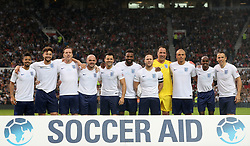 England's team group (left to right): Jeremy Lynch, Myles Stephenson, Damian Lewis, Danny Murphy, Mark Wright, Darren Bent, Olly Murs, David Seaman, Wes Brown, Sir Mo Farah and Phil Neville during the UNICEF Soccer Aid match at Old Trafford, Manchester.
