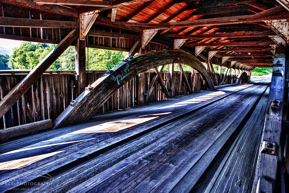 The Tafstville Covered Bridge in Woodstock, Vermont. HDR.