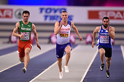 Great Britain's Richard Kilty competing in his heat in the Men's 60m during day two of the European Indoor Athletics Championships at the Emirates Arena, Glasgow.