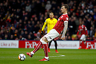Aden Flint of Bristol City in action. The Emirates FA Cup, 3rd round match, Watford v Bristol City  at Vicarage Road in Watford, London on Saturday 6th January 2018.<br /> pic by Steffan Bowen, Andrew Orchard sports photography.