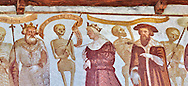"""The Church of San Vigilio in Pinzolo and its fresco paintings """"Dance of Death"""" painted by Simone Baschenis of Averaria in1539, Pinzolo, Trentino, Italy .<br /> <br /> Visit our MEDIEVAL ART PHOTO COLLECTIONS for more   photos  to download or buy as prints https://funkystock.photoshelter.com/gallery-collection/Medieval-Middle-Ages-Art-Artefacts-Antiquities-Pictures-Images-of/C0000YpKXiAHnG2k<br /> If you prefer to buy from our ALAMY PHOTO LIBRARY  Collection visit : https://www.alamy.com/portfolio/paul-williams-funkystock/san-vigilio-pinzolo-dance-of-death.html"""