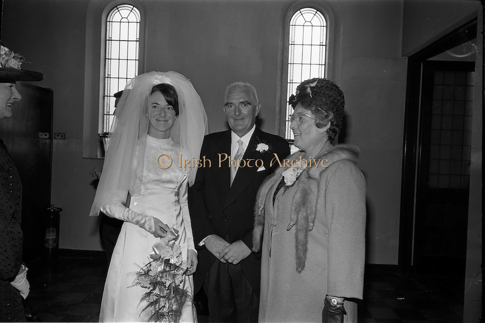 05/07/1967<br /> 07/05/1967<br /> 05 July 1967<br /> Wedding of George Walsh, eldest son of Mr and Ms Kevin G. Walsh, St. Rita's, Firhouse Road, Templeogue, Co. Dublin and Miss Arlene McMahon, elder daughter of Det. Chief Supt. Philip McMahon, Head of Special Branch, Dublin Castle and Mrs McMahon of Lisieux, Templeville Park, Templeogue, Co. Dublin who were married at the Carmelite Church, Terenure College, Dublin. An Taoiseach Mr Jack Lynch and Mrs Lynch; Mr Liam Cosgrove, leader Fine Gael and Mrs Cosgrave were among the 120 guests. Rev Fr H.E. Wright, O. Carm., Moate, officiated at the ceremony. The reception was held at Downshire Hotel, Blessington, Co. Wicklow.