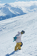 British female freestyle snowboarder Mia Brookes on the 5th April 2019 in Laax ski resort in Switzerland. At 12 years old, Mia Brookes was recently selected to represent Great Britain in freestyle snowboarding.