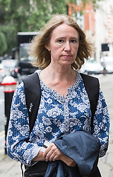 © Licensed to London News Pictures. 23/06/2016. LONDON, UK.  The parents of Jack Letts: John Letts (not pictured) and Sally Lane (pictured) arrive at the Old Bailey charged with terrorist offences.  Both have pleaded not guilty to three counts of making money available knowing or having reasonable cause to suspect that it may be used for a terrorist purpose. Mrs Lane is charged with two further counts of attempting to provide money knowing it may be used to fund terrorism, and has pleaded not guilty to both. Photo credit: Vickie Flores/LNP