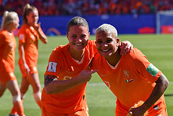 June 30, 2019 - Valenciennes, France - Sherida Spitse (NED) and Shanice Van De Sanden (NED) celebrate the win of the quarter-final between in ITALY and NETHERLANDS the 2019 women's football World cup at Stade du Hainaut, on the 29 June 2019. (Credit Image: © Julien Mattia/NurPhoto via ZUMA Press)