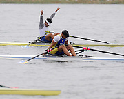 Marathon, GREECE,  GRE M1X, Ioannis CHRISTOU.  final , at the start of the morning heat at the FISA European Rowing Championships.  Lake Schinias Rowing Course, SAT. 20.09.2008  [Mandatory Credit Peter Spurrier/ Intersport Images] , Rowing Course; Lake Schinias Olympic Rowing Course. GREECE