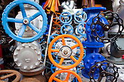 07 OCTOBER 2009 -- BANGKOK, THAILAND: Valves and piping available for sale in a market in Chinatown in Bangkok, Thailand. Chinatown is the old commercial heart of Bangkok with thousands of small shops selling everything from clothes to dried fish to case lots of shoes and gem stones.     Photo By Jack Kurtz