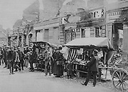 World War I 1914-1918: Street market in the middle of the ruins of Hohenstein (now Olsztynek, Poland), German East Prussia, 1915.