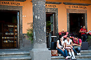Young people hang out in Tequila's main square, which dates to the Spanish period.