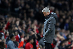 Manchester United manager Jose Mourinho appears dejected on the touchline