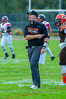 KELOWNA, CANADA - SEPTEMBER 16: Head coach Ben Macauley of the Okanagan Sun stands on the field against the Vancouver Island Raiders on September 16, 2018, at the Apple Bowl, in Kelowna, British Columbia, Canada.  (Photo by Marissa Baecker/Shoot the Breeze)  *** Local Caption ***