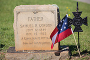 The grave marker of a civil war confederate veteran at Elmwood Cemetery decorated with a flag on Confederate Memorial Day May 2, 2015 in Columbia, SC. Confederate Memorial Day is a official state holiday in South Carolina and honors those that served during the Civil War.