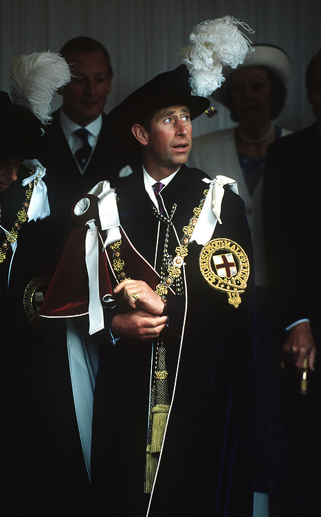 The Prince of Wales seen in his robes at the order of the Garter Ceremony at Windsor in June 1990.Photograph BY Jayne Fincher
