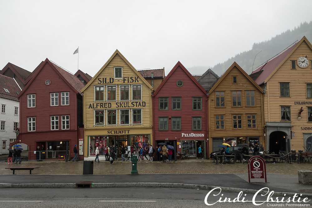 The Bryggen area of Bergen, Norway, is seen on a dreary May 21, 2013. Bryggen, also known as the Hanseatic wharf, pays tribute to the trading that has a taken place here since the 1400s. It is on the UNESCO World Heritage list.  (© 2013 Cindi Christie)