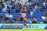 Bristol City's Rob Atkinson (5) competes for a high ball with Cardiff City defender Aden Flint (5) during the EFL Sky Bet Championship match between Cardiff City and Bristol City at the Cardiff City Stadium, Cardiff, Wales on 28 August 2021.