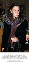 ISABEL FONSECA wife of Martin Amis,  at a dinner in London on 19th March 2003.PIE 45