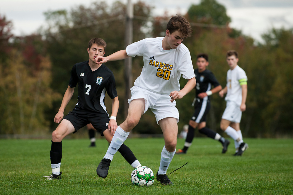 Harwood's Christopher James (20) plays the ball during the boys soccer game between the Harwood Highlanders and the Stowe Raiders at Stowe High School on Tuesday afternoon September 24, 2019 in Stowe, Vermont. (BRIAN JENKINS/for the FREE PRESS)