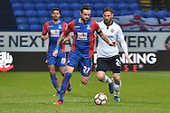 Crystal Palace Defender, Damien Delaney (27) ansd Bolton Wanderers Midfielder, James Henry (24)  during the The FA Cup 3rd round match between Bolton Wanderers and Crystal Palace at the Macron Stadium, Bolton, England on 7 January 2017. Photo by Mark Pollitt.