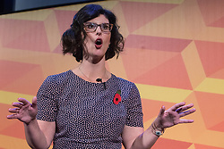 London, UK. 9 November, 2019. Layla Moran, Liberal Democrat candidate for Oxford West and Abingdon, addresses the Rally for the Future in Battersea.