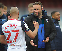 Football - 2020 / 2021 Sky Bet League Two - Crawley Town vs Bolton Wanderers - The People's Pension Stadium<br /> <br /> Bolton Manager, Ian Evatt celebrates with Alex Bapiste after getting promotion<br /> <br /> Credit : COLORSPORT/ANDRTEW COWIE