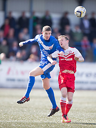 Montrose Jonathan Crawford and Brora Rangers Alexander Sutherland. <br /> Montrose 3 v 1 Brora Rangers, Scottish League Two play-off second leg, today at Links Park, Montrose.