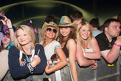 Fans before Katy B playing the Goldenvoice Arena on Friday night..RockNess 2011, the annual music festival which takes place in Scotland at Clune Farm, Dores, on the banks of Loch Ness near Inverness..Pic ©2011 Michael Schofield. All Rights Reserved..