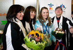 Slovenian 2-times silver medalist alpine skier Tina Maze with her family: mother Sonja, sister Maja and her father Ferdo Maze at arrival to Airport Joze Pucnik from Vancouver after Winter Olympic games 2010, on February 28, 2010 in Brnik, Slovenia. (Photo by Vid Ponikvar / Sportida)