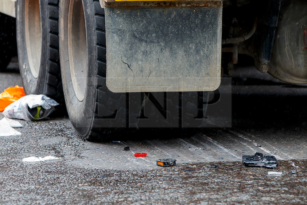 © Licensed to London News Pictures. 22/06/2015. London, UK. Tire marks are seen after a female cyclist died in a crash with a tipper truck at Bank junction in London during morning rush hour on Monday, June 22, 2015. Photo credit: Tolga Akmen/LNP