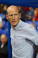 Tranmere Rovers Manager Rob Edwards looks on prior to kick off. Skybet football league two match, Tranmere Rovers v Exeter city at Prenton Park in Birkenhead, the Wirral on Saturday 20th Sept 2014.<br /> pic by Chris Stading, Andrew Orchard sports photography.