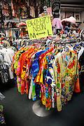 "Hawaiian shirts (aka ""aloha shirts"") from the 1960s and 1970s for sale at Bailey's Antiques and Aloha Shirts store in Honolulu, Hawaii"