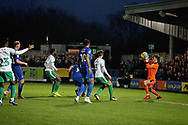 Plymouth goalkeeper Matt Macey safely gathers during the EFL Sky Bet League 1 match between AFC Wimbledon and Plymouth Argyle at the Cherry Red Records Stadium, Kingston, England on 26 December 2018.