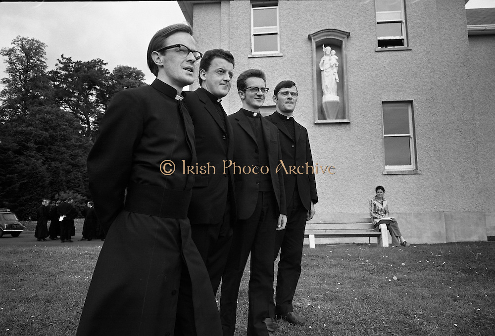 Christian Brothers .1972..11.08.1972..08.11.1972..11th August 1972..<br /> At St Marys,Christian Brothers College,Bray, the Christian Brothers prepare for their final profession before they move to the different provincial houses throughout the country...Pictured on the lawn of St Marys' Christian Brothers College,Bray Wicklow were Bro Seamus Hurley, clonmes, Tipperary, Bro J D Cregan,Cahir,Tipperary, Bro John Dillon,Limerick and Bro M F Kelly,Ennis,Clare.