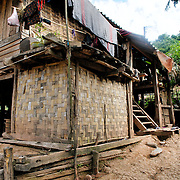 A house in Lakkhamma Village in Luang Namtha province in northern Laos. Lakkhamma Village was established as a joint project between the Lao government and the European Commission.