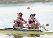 Eton, United Kingdom.  Natashia PAGE and Lindsey MAGUIRE, competing in the men's Single Scull  Sat. time trial.  2011 GBRowing Trials, Dorney Lake. Saturday  16/04/2011  [Mandatory Credit; Peter Spurrier/Intersport-images] Venue For 2012 Olympic Regatta and Flat Water Canoe events.